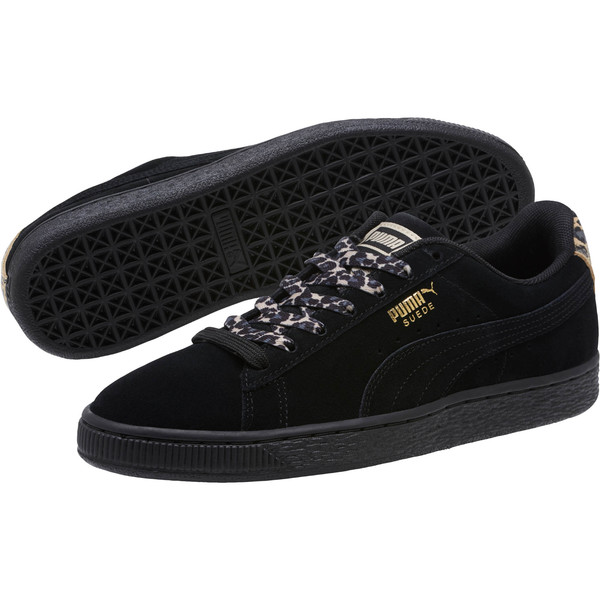 Suede Wild Women's Sneakers, Black- Gold-Pebble, large