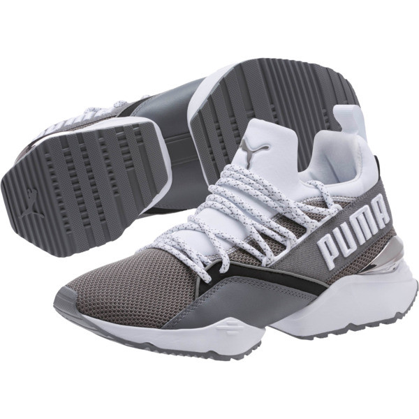 Muse Maia Smet Women's Sneakers, Steel Gray-Puma White, large