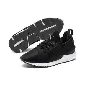 Thumbnail 2 of Muse 2 Satin Women's Sneakers, Puma Black-Asphalt, medium