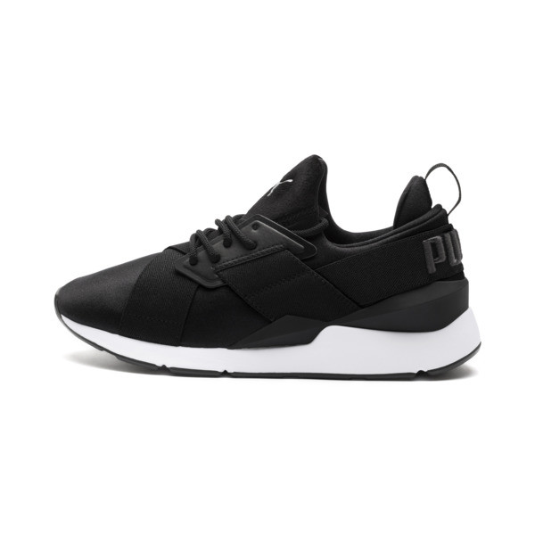 Muse Satin II Damen Sneaker, Puma Black-Asphalt, large