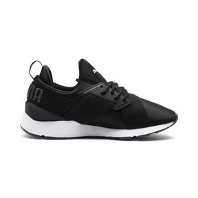 Thumbnail 5 of Muse 2 Satin Women's Sneakers, Puma Black-Asphalt, medium