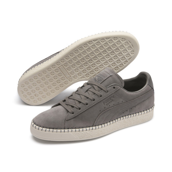 Suede Classic Blanket Stitch sneakers, Charcoal Gray-Whisper White, large