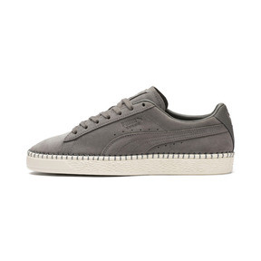 Thumbnail 1 of Suede Classic Blanket Stitch Sneakers, Charcoal Gray-Whisper White, medium