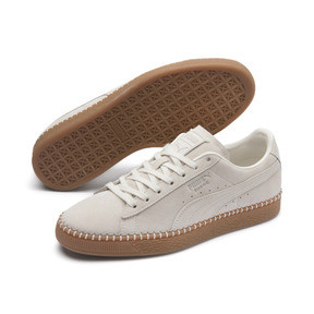 Thumbnail 3 of Suede Classic Blanket Stitch Trainers, Whisper White-Gum, medium