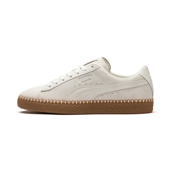 Suede Classic Blanket Stitch Trainers, Whisper White-Gum, large