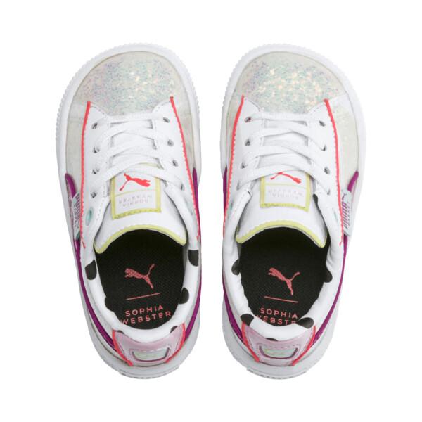 ZapatosPUMA x SOPHIA WEBSTER Basket para niños, Puma White-Pale Pink, grande
