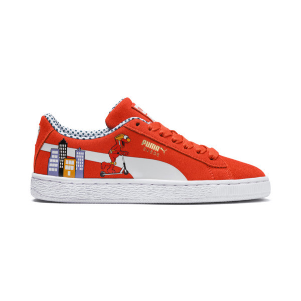 Sesame Street 50 Youth Suede Trainers, Cherry Tomato-Puma White, large