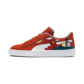 Thumbnail 1 of Sesame Street 50 Youth Suede Trainers, Cherry Tomato-Puma White, medium