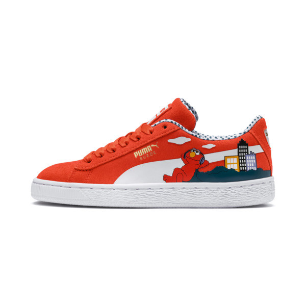 Sesamstraße Suede Kinder Sneaker, Cherry Tomato-Puma White, large