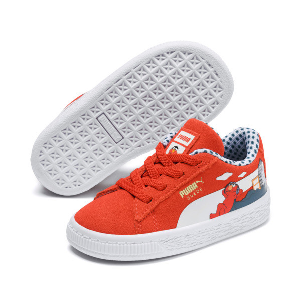 Sesame Street Suede Babies' Trainers, Cherry Tomato-Puma White, large