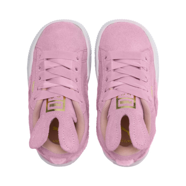 Suede paassneakers met alternatieve sluiting voor baby's, Pale Pink-Coral Cloud, large