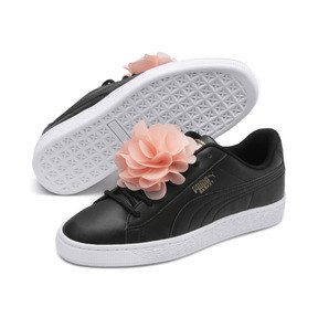 Thumbnail 2 of Basket Flower Girls' Trainers, Puma Black-Peach Bud, medium