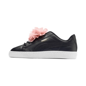 Thumbnail 1 of Basket Flower Girls' Trainers, Puma Black-Peach Bud, medium