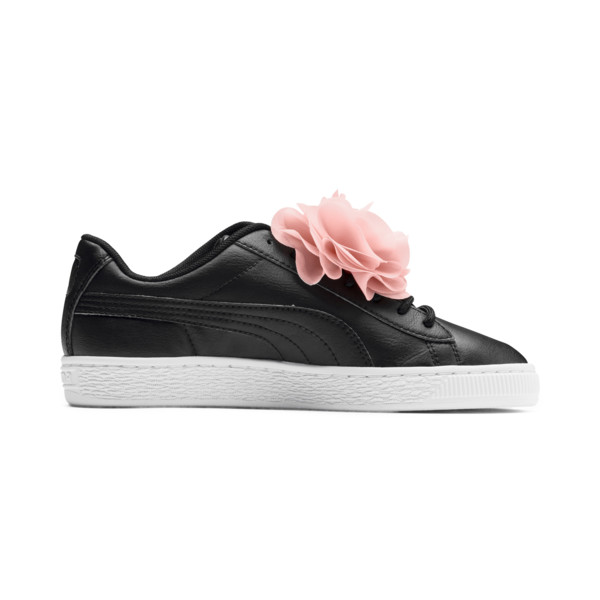 Basket Flower Girls' Trainers, Puma Black-Peach Bud, large