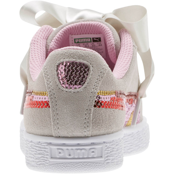 Suede Heart Trailblazer Sequin Sneakers JR, Gray Violet-Pale Pink, large