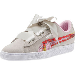 Thumbnail 1 of Suede Heart Trailblazer Sequin Sneakers JR, Gray Violet-Pale Pink, medium