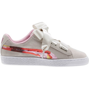 Thumbnail 3 of Suede Heart Trailblazer Sequin Sneakers JR, Gray Violet-Pale Pink, medium