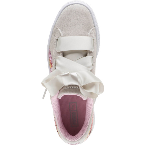 Suede Heart Trailblazer Sequin Sneakers JR, Gray Violet-Pale Pink, large