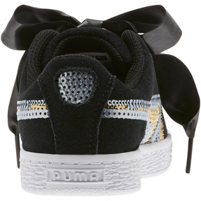 Thumbnail 4 of Suede Heart Trailblazer Sequin Sneakers INF, Puma Black-Puma Team Gold, medium