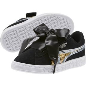 Thumbnail 2 of Suede Heart Trailblazer Sequin Sneakers INF, Puma Black-Puma Team Gold, medium