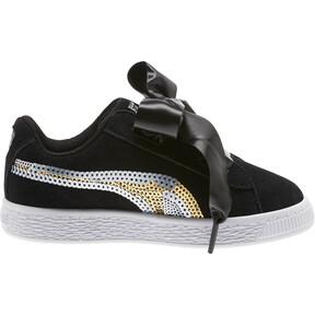 Thumbnail 3 of Suede Heart Trailblazer Sequin Sneakers INF, Puma Black-Puma Team Gold, medium