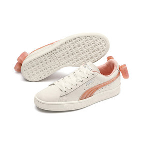 Thumbnail 2 of Suede Bow Jelly Girls' Trainers, Whis White-Peach Bud-Silver, medium