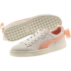 Thumbnail 2 of Suede Jelly Bow Sneakers JR, Whis White-Peach Bud-Silver, medium