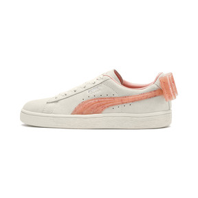 Thumbnail 1 of Suede Bow Jelly Girls' Trainers, Whis White-Peach Bud-Silver, medium