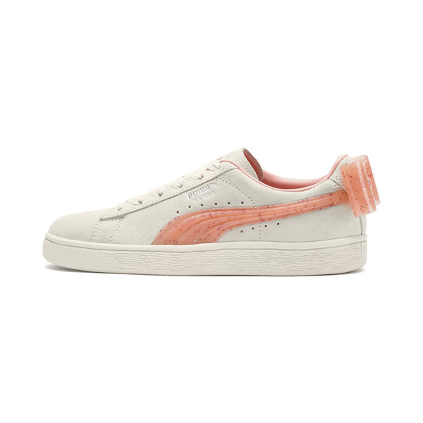 Basket Suede Bow Jelly pour fille, Whis White-Peach Bud-Silver, large