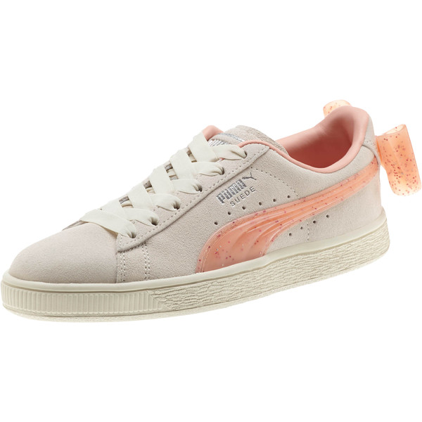 Suede Jelly Bow Sneakers JR, Whis White-Peach Bud-Silver, large