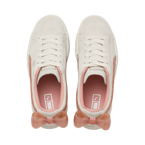 Thumbnail 6 of Suede Bow Jelly Girls' Trainers, Whis White-Peach Bud-Silver, medium