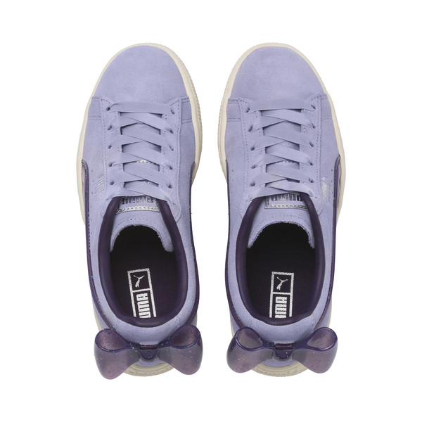 Suede Bow Jelly Girls' Trainers, SweetLavender-Indigo-White, large