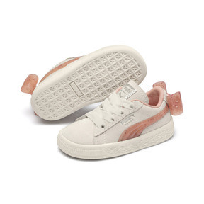 Thumbnail 2 of Suede Jelly Bow AC Sneakers PS, Whis White-Peach Bud-Silver, medium