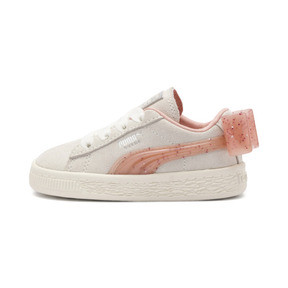 Thumbnail 1 of Suede Jelly Bow AC Sneakers PS, Whis White-Peach Bud-Silver, medium