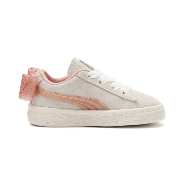 Suede Jelly Bow AC Sneakers PS, Whis White-Peach Bud-Silver, large