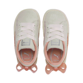 Thumbnail 6 of Suede Jelly Bow AC Sneakers PS, Whis White-Peach Bud-Silver, medium