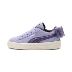 Thumbnail 1 of Suede Jelly Bow AC Sneakers PS, SweetLavender-Indigo-White, medium