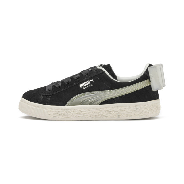 Suede Bow Jelly Babies' Trainers, Puma Black-Glac Gray-Silver, large