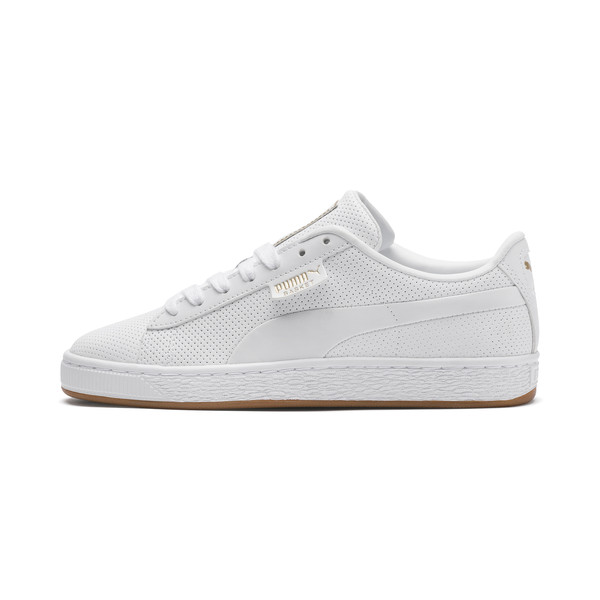 Basket Classic Gum Youth Trainers, Puma White-Gum, large