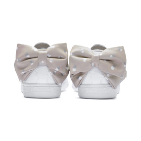 Thumbnail 3 of Basket Bow Dots Girls' Trainers, Puma White-Silver Gray, medium