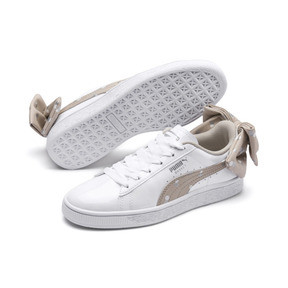 Thumbnail 2 of Basket Bow Dots Girls' Trainers, Puma White-Silver Gray, medium