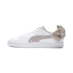 Thumbnail 1 of Basket Bow Dots Girls' Trainers, Puma White-Silver Gray, medium