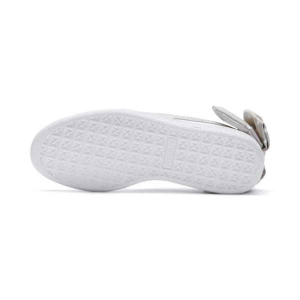 Basket Bow Dots Girls' Trainers, Puma White-Silver Gray, large