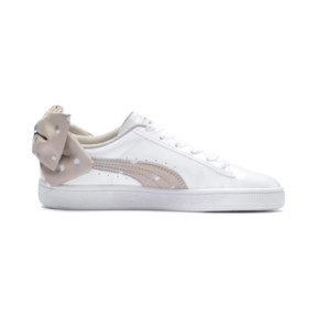 Thumbnail 5 of Basket Bow Dots Girls' Trainers, Puma White-Silver Gray, medium