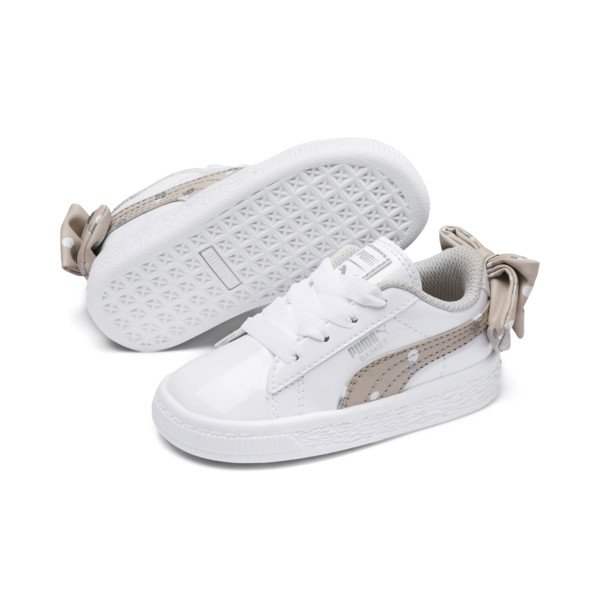 Basket Bow Dots Kids Girls' Trainers, Puma White-Silver Gray, large