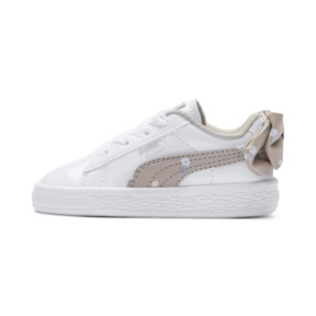 Thumbnail 1 of Basket Bow Dots Kids Girls' Trainers, Puma White-Silver Gray, medium