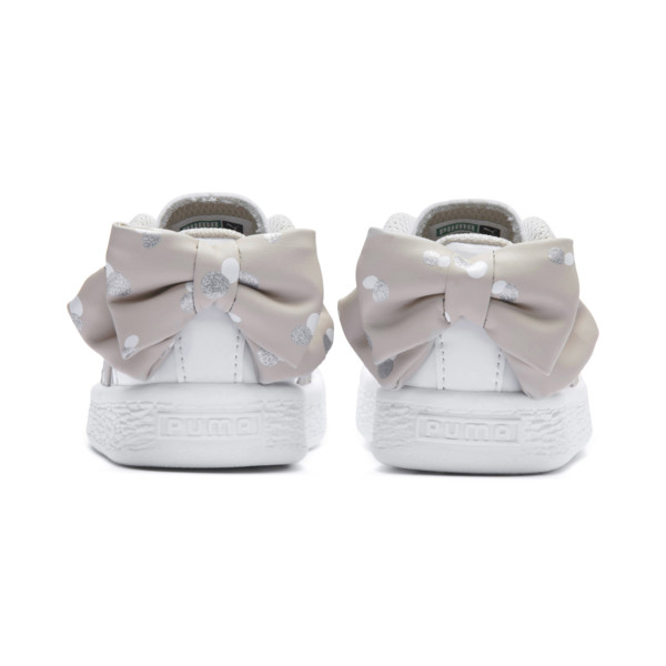 Basket Bow Dots Babies' Trainers, Puma White-Silver Gray, large