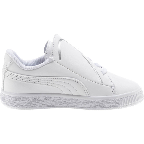 Basket Crush AC Little Kids' Shoes, Puma White-Puma Silver, large