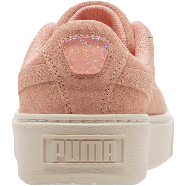 Suede Super Jewel Platform Sneakers JR, Peach Bud-Whisper White, large