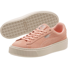Thumbnail 2 of Suede Super Jewel Platform Sneakers JR, Peach Bud-Whisper White, medium